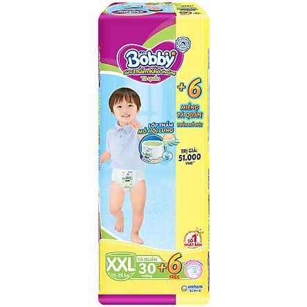 Tã Quần Bobby - Đệm Lưng Thấm Mồ Hôi XXL30 (30 Miếng) - Tặng 6 Miếng Trong GóI