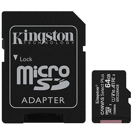 Thẻ nhớ Kingston microSDXC 64GB CL10 UHS-I SDCS2/64GB - 100MB/s (Có Adapter) - Hàng Chính Hãng