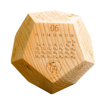 Lịch gỗ lục giác để bàn gỗ thông nguyên khối (Có Âm Lịch)