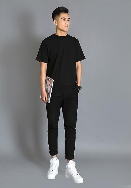 Áo Thun Nam Unisex thiết kế hình trơn 2 màu Đen / Trắng basic thương hiệu Japas Cotton Ai Cập 190gram, áo phông cổ tròn basic cộc tay thoáng mát, thấm hút mồ hôi - Hàng chính hãng