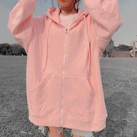 Áo Khoác Hoodie Nữ Thêu Tim  Ngực Form Rộng Chất Liệu Thun Nỉ