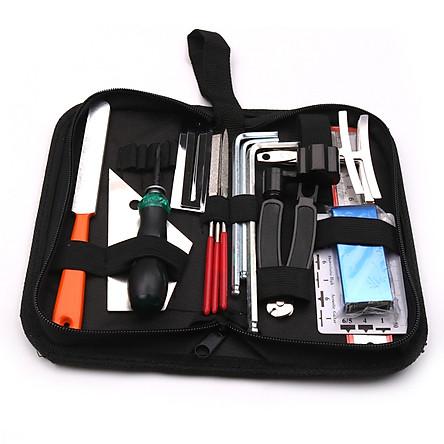 Dụng cụ sửa chữa đàn Guitar Bộ dụng cụ bảo trì Tập tin Cân bằng thước đo Thước đo công cụ sửa chữa Túi đựng cho đàn Guitar Ukulele