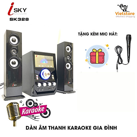 (Tặng kèm Micro hát) Dàn âm thanh tại gia, giải trí đỉnh cao tại nhà, vi tính lớn hát karaoke âm thanh đỉnh cao có kết nối Bluetooth USB Isky - SK328-Hàng nhập khẩu