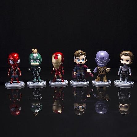 Bộ 6 nhân vật MÔ HÌNH AVENGER DR STRANGE IRON MAN SPIDER CAPTAIN MARVEL Caption America siêu anh hùng