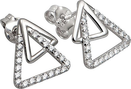 Bông tai bạc đính đá PNJSilver hình tam giác XM00K000145-BO