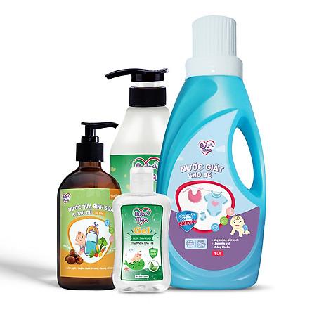 Combo chăm sóc bé: Nước giặt Enzym 1L + Nước rửa rau củ và bình sữa 500ml + Tắm gội Trầu Không và Tràm Trà 500ml + Gel rửa tay khô cho bé 100ml BuB&MuM