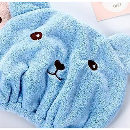 Khăn tắm trùm đầu, khăn ủ tóc, khăn làm khô tóc hình gấu
