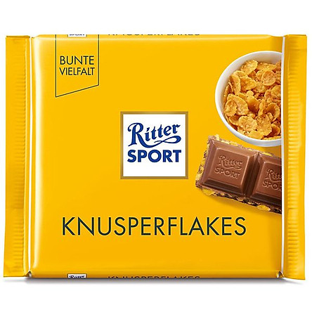 Chocolate Ritter Sport Knusperflakes nhân bỏng ngô 100gr (Cornflakes)