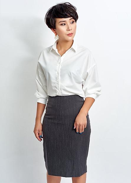 Chân váy nữ xẻ sau - May's House Designer - 380040230700- Đen