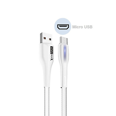 Cáp sạc nhanh và truyền dữ liệu VivuMax M102 đầu sạc đầu sạc Micro USB, tương thích hầu hết các sản phẩm có cổng Micro USB (Android  Samsung/Oppo/Xiaomi/Vsmart/Realme…) - Có đèn LED báo tín hiệu, 1m, Dây PVC cao cấp chống cháy – Hàng Chính Hãng