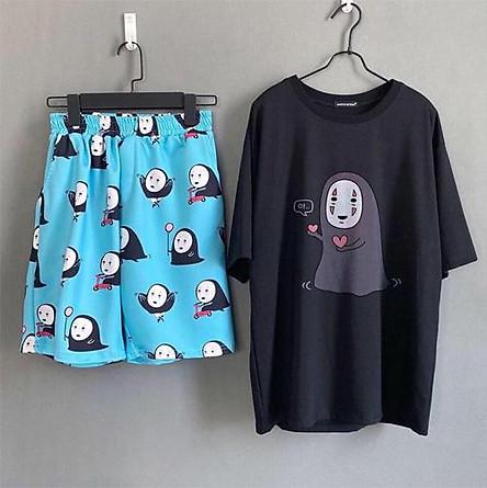 Set đồ unisex Vô diện gồm 1 quần cartoon kèm 1 áo thun nam nữ form rộng tay lỡ Freesize mặc vừa từ 40-65kg Molly Urban
