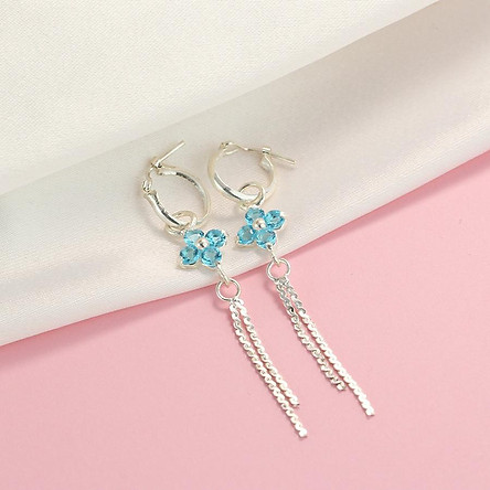 Bông tai bạc nữ - Khuyên tai bạc nữ dài hình cỏ 4 lá đính đá xanh dương đẹp BTN0085