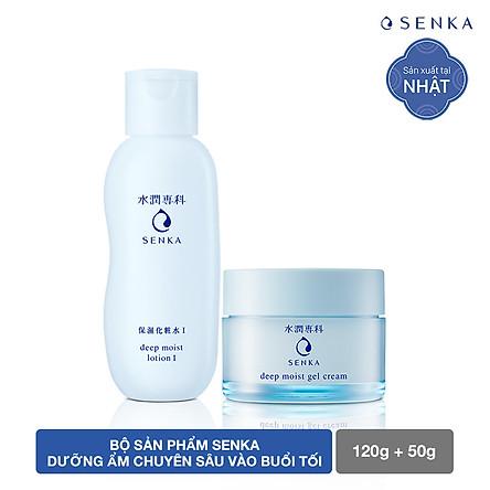 Bộ sản phẩm Senka dưỡng ẩm chuyên sâu vào buổi tối (Senka Deep Moist Lotion I và Senka Deep Moist Gel Cream)