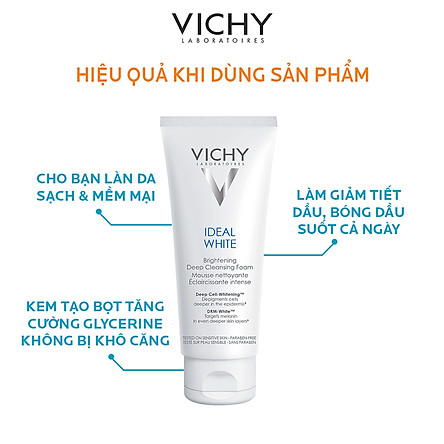 Sữa Rửa Mặt Tạo Bọt Dưỡng Trắng Da Vichy Ideal White Brightening Deep Cleansing Foam 100854586 (100ml)