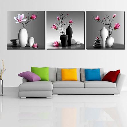 Tranh Canvas treo tường nghệ thuật | Bộ 3 bức vuông| HLB_069