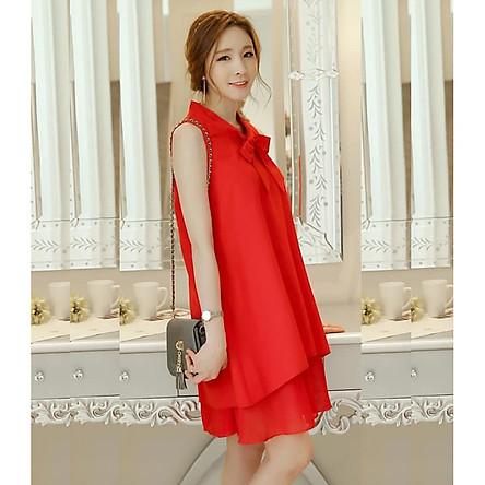 Đầm bầu váy bầu suông thắt nơ 2 tầng  DN19072511