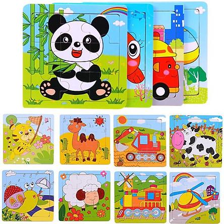 Combo 10 tranh ghép hình cho bé LN01 - Đồ chơi gỗ an toàn cho bé