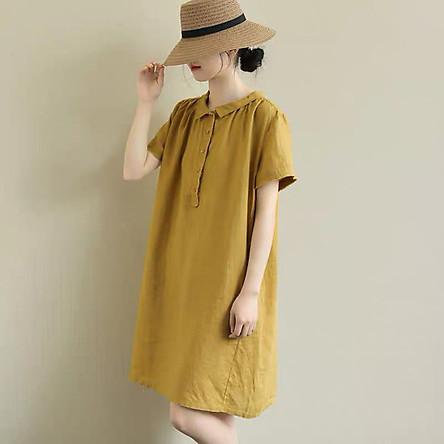 Đầm suông linen cổ sen vuông form rộng trẻ trung LAHstore, chất vải linen mềm mát, thời trang phong cách Nhật Bản