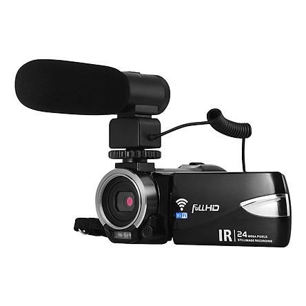Portable Multi-Functional 1080P Fhd Digital Video Camera Camcorder Dv Recorder 24Mp Support Ir Night Vision Wifi - Black