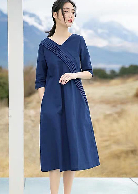 Đầm suông dáng chữ A cổ V tay lỡ xanh than LAHstore, chất thô mềm mát, thời trang phong cách Hàn Quốc