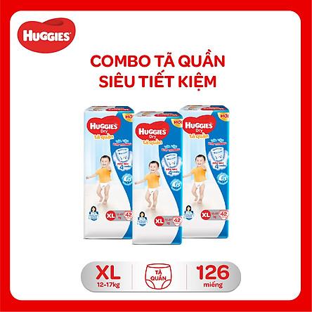 Combo 3 Gói Tã Quần Huggies Dry Gói Đại XL42 (42 Miếng) - Bao Bì Mới