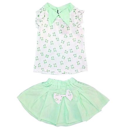 Set áo sơmi và chân váy xòe đính nơ cho bé gái 13-24kg