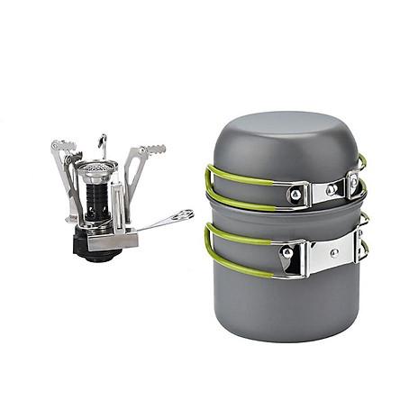 Outdoor Cookware Mess Kits Picnic Pot Pan Bowl Mini Stove Compact Camp Utensil