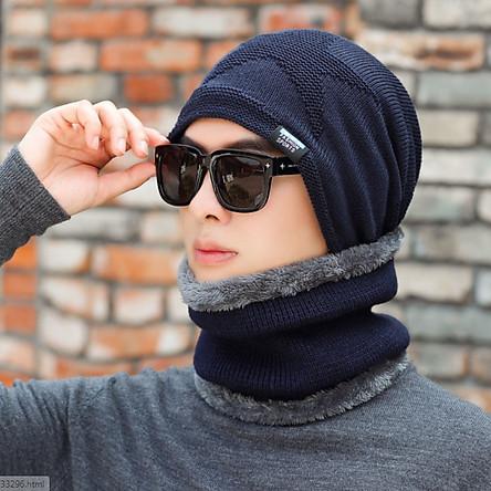 Nón len nam kèm khăn lót nỉ phong cách Hàn, bộ mũ len nam kèm khăn 2 trong 1 cao cấp