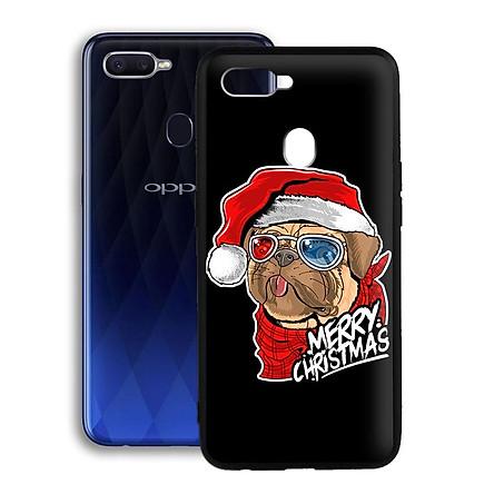 Ốp lưng mẫu đẹp cho điện thoại Oppo F9 - Viền dẻo - 02064 7934 BULLDOG01 - Bulldog mừng Giáng Sinh - Hàng Chính Hãng