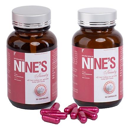 Hộp 2 lọ liệu trìnhViên Uống Trắng Da toàn thân Mờ Tàn Nhang Nine's Beauty bổ sung Collagen, Nano Glutathione, Nano Curcumin làm đẹp da hỗ trợ trị nám tàn nhang, chống lão hóa giảm nếp nhăn Điều hòa nội tiết tố nữ