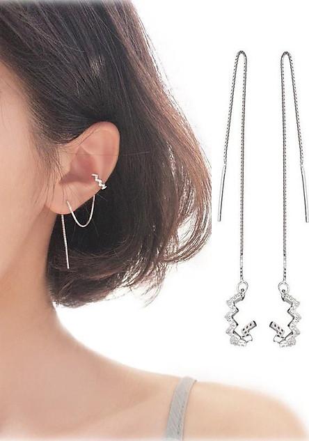 Bông tai khuyên tai nữ cặp vành đính đá dây xỏ dài