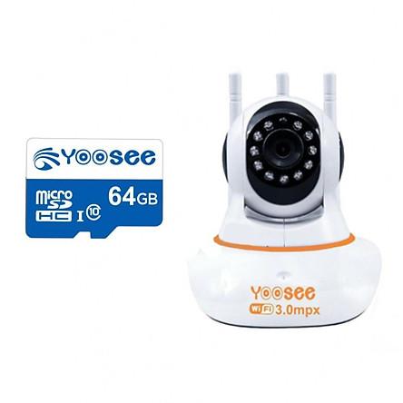 Camera wifi yoosee 3.0  2K siêu nét - camera ip yoosee 3 râu 3mp trong nhà - hàng nhập khẩu