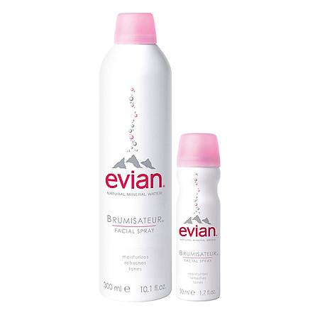 Combo 2 Chai Nước Xịt Khoáng Thiên Nhiên Evian Natural Mineral Water (50ml - 300ml)