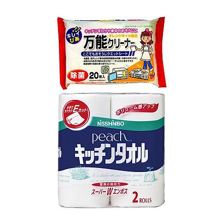 Combo Set 2 Cuộn Khăn Giấy Bếp Cao Cấp +Set 20 giấy ướt vệ sinh bếp, lò vi sóng- Nội Địa Nhật Bản