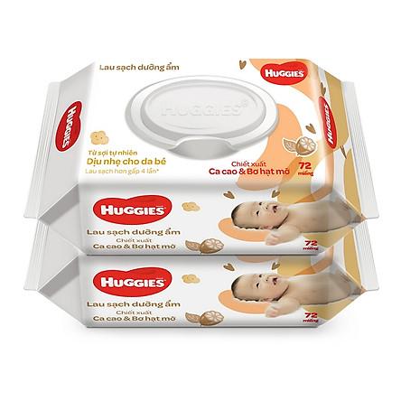 Combo 2 gói Khăn giấy ướt cho trẻ sơ sinh HUGGIES (Gói 72 tờ) - Chiết xuất Cao cao & Bơ hạt mỡ