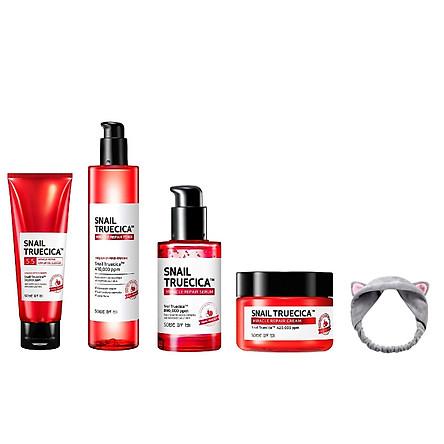 Bộ 4 sản phẩm dưỡng phục hồi da, cải thiện sẹo lõm Some By Mi Snail Truecica Miracle Repair (SRM, Toner, Serum, Cream) + Tặng Kèm 1 Băng Đô Tai Mèo Xinh Xắn ( Màu Ngẫu Nhiên)