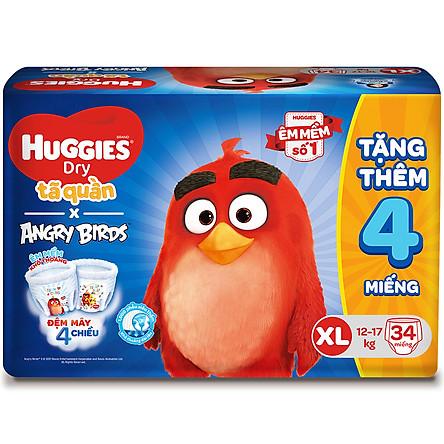 Tã Quần Huggies Dry gói trung Angry Birds phiên bản giới hạn XL34 (34 Miếng) - Tặng 4 miếng