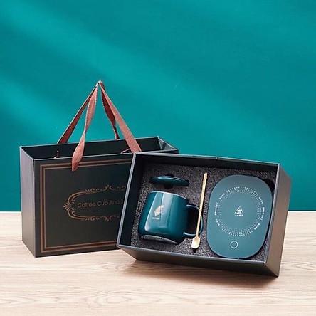 Bộ cốc giữ nhiệt đồ uống cao cấp, kèm thìa vàng và đế giữ nhiệt đồ uống để mùa đông không lạnh + tặng kèm cốc inox cá nhân gấp gọn