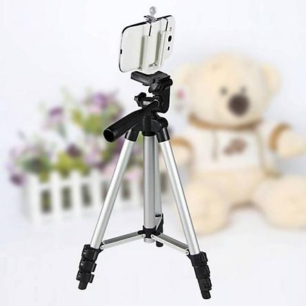 Chân đỡ máy ảnh, điện thoại chụp hình quay phim kèm kẹp điện thoại - tặng cáp sạc Samsung