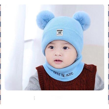 Mũ len cho bé sơ sinh kèm khăn