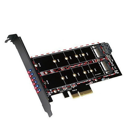 Thẻ bộ điều hợp SSD PCI-E 4X M.2 (cổng PCI-E 1 + cổng SATA 1) chính hãng Galileo