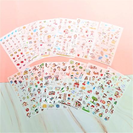 Combo 2 Bộ 6 Tấm Sticker Dán Trang Trí - Happy Childhood Và Happiness