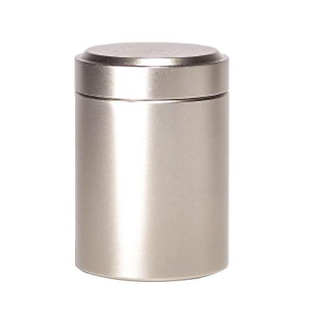 Protable Aluminium Alloy Tea Tin Coffee Canister Jewelry Round Box Sliver Gray