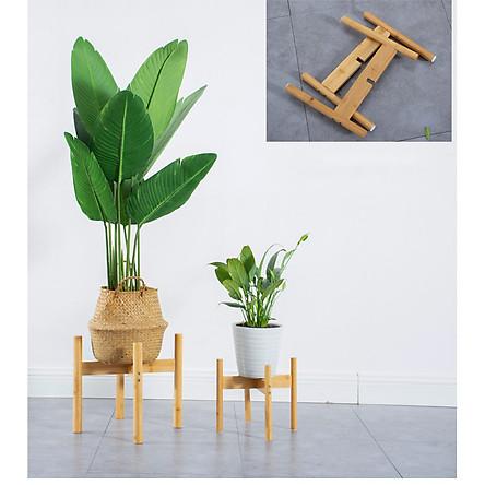 Giá kệ gỗ mini để đỡ chậu cây hoa để trong nhà hoặc ngoài trời - Gỗ tre tự nhiên
