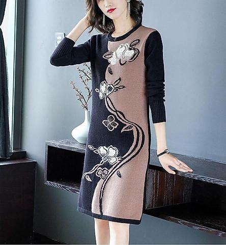Đầm Len Họa Tiết Phối Màu - KT2419