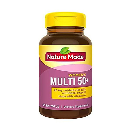 Nature Made Women's Multivitamin 50+ Softgels with Vitamin D, 60 Count (Packaging May Vary)
