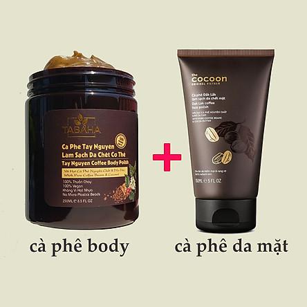 Combo Tẩy Da Chết Cà phê Da Mặt Cocoon 150ml + Body Cơ Thể Tabaha 250ml