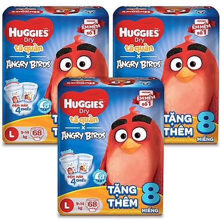 Combo 3 Gói Tã Quần Huggies Dry Gói Cực Đại Angry Birds phiên bản giới hạn L68 (68 Miếng) - Tặng 8 miếng