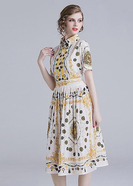 Đầm xòe sơ mi dạo phố kiểu đầm xòe in hoa văn vàng phong cách châu âu ROMI 1687