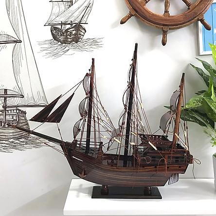 Mô hình thuyền gỗ trang trí Thái Lan - thân 40cm - gỗ tràm